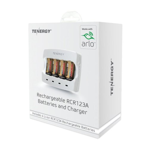 Arlo Certified - Tenergy Rechargeable RCR123 Batteries & Charger Set