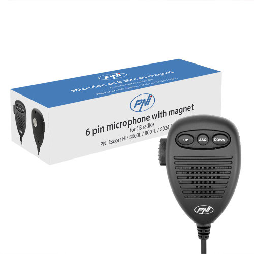 6-pin microphone with metal part for PNI radio stations Escort HP 8000/8001/8024/9000/9001 / 8000L /