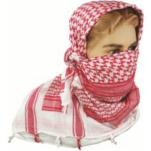 Red & White Shemagh Scarf - Highlander Shemagh Scarf Red White Check 100% Cotton Snood Mens Face Cover