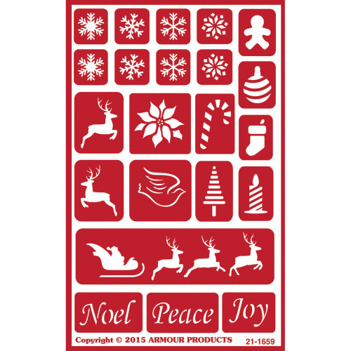 """Over 'N' Over Reusable Stencils 5""""X8""""-Holiday Baubles"""