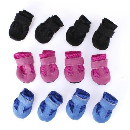 4Pcs Winter Warm Adjustable Pet Dog Puppy Mesh Shoes
