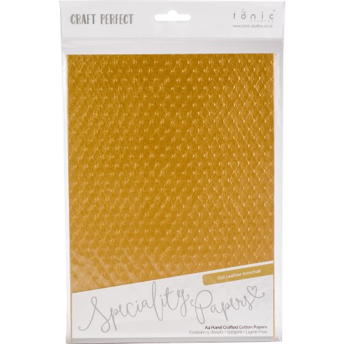Craft Perfect Handcrafted Cotton Papers A4 5/Pkg-Old Leather Armchair