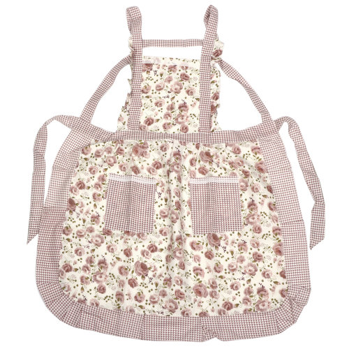 TRIXES Frilly Floral Apron Tabard Kitchen Household Garden