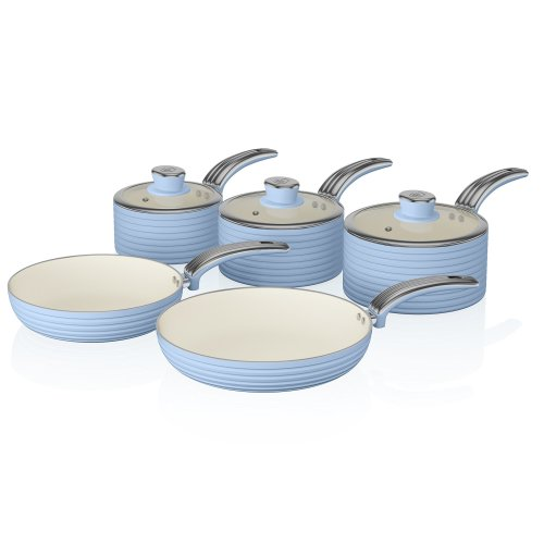 Swan Retro Pan Set with Easy Clean Non-Stick Ceramic Coating, Aluminium, Blue, 5 Piece