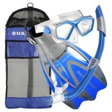 U.S. Divers Adult Icon Mask/Seabreeze Snorkel/Proflex Open Heel Fins/ Gearbag (Elect. Blue, Small )