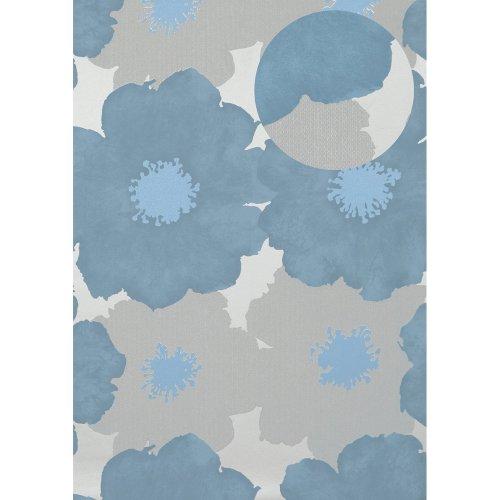 Atlas TEM-5108-3 Flowers wallcovering wall metallic highlights blue 7.035 sqm