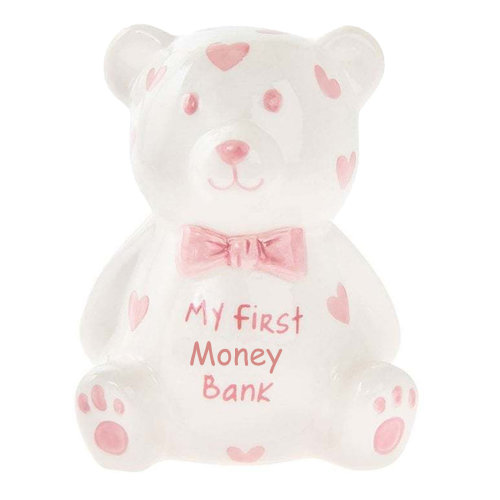 'My First Teddy Bank' MINI Money Box White with Hearts - Pink
