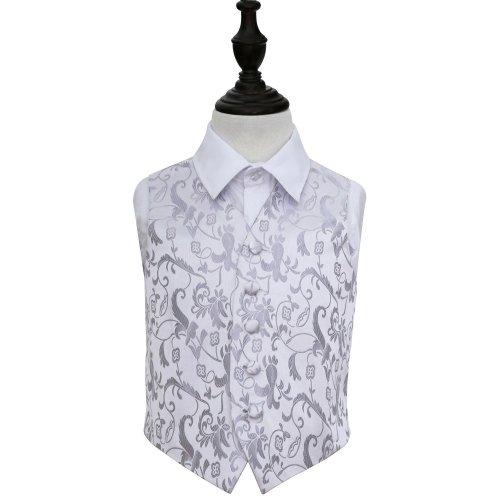 Silver Floral Wedding Waistcoat for Boys 24'