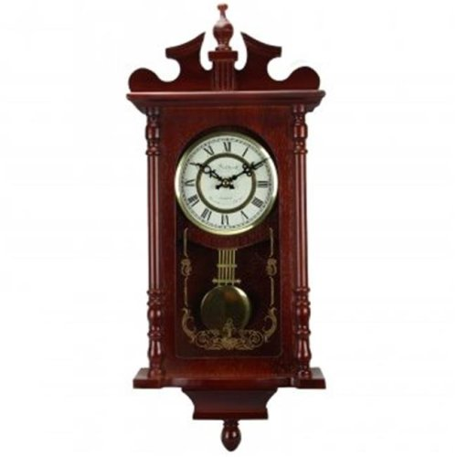 Bedford Clock Collection BED1424RW Bedford Collection Redwood 25 in. Wall Clock with Pendulum & Chime