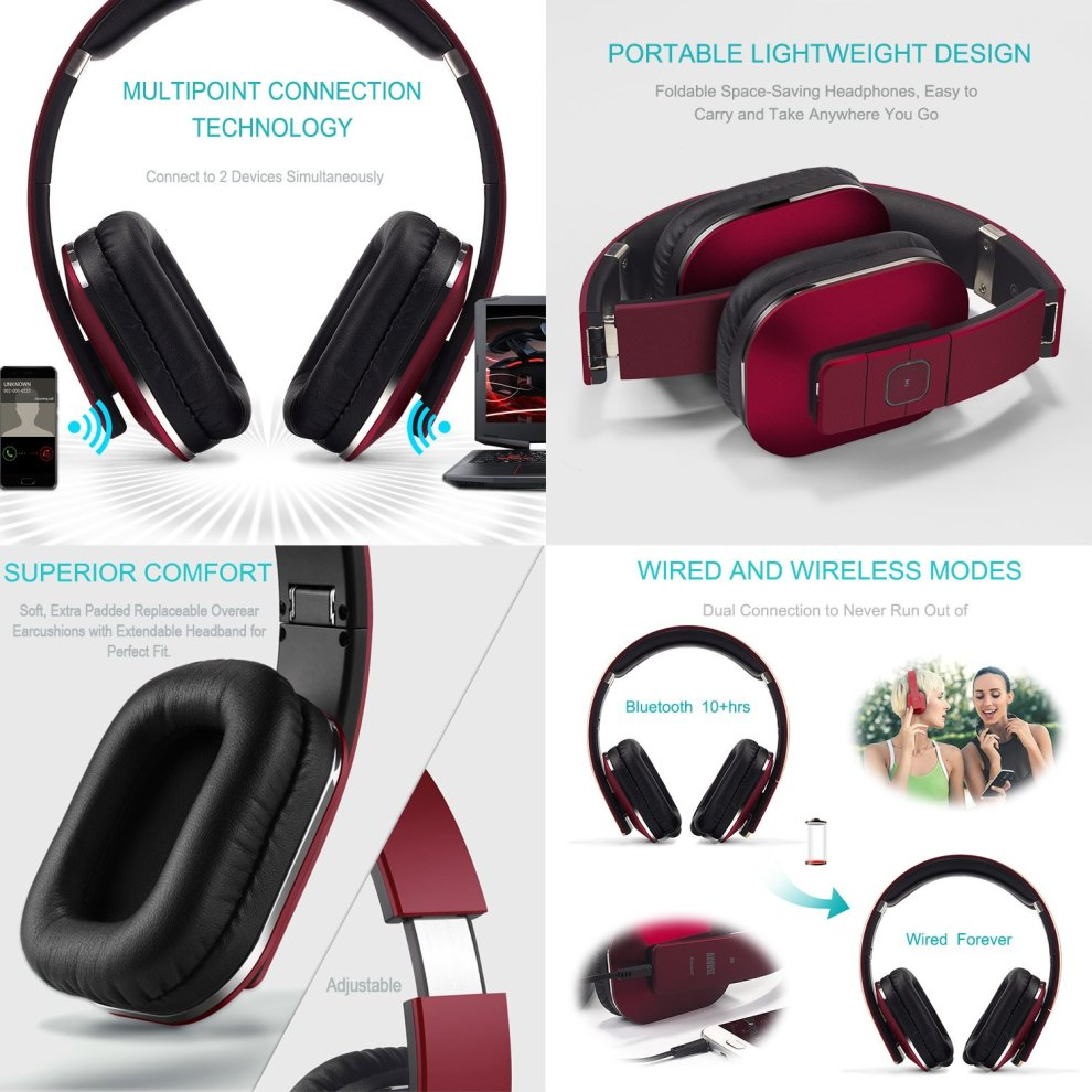 6bebff8c3f3 ... August EP650 Bluetooth Wireless Headphones - Custom Sound Control with  Android/iOS App and Bluetooth ...