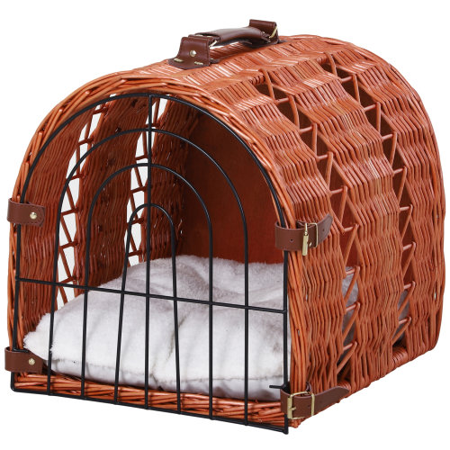 Natural Wicker Cat Basket W/ Mat Handle Kitten Pussy Bed Portable Cat Carrying House