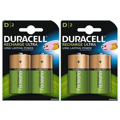4 x Duracell D Size 3000 mAh Rechargeable Batteries NiMH LR20 HR20 DC1300 ACCU