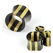 Natural Organic Double Stripe Two Tone Jackfruit Wood & Ebony Areng Wood Hollow Ear Tunnel Saddle Plug Piercing Finest Quality Materials