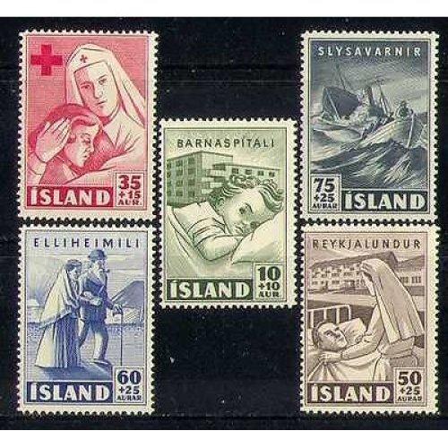 Iceland 1949 Red Cross  /  Medical  /  Nurse  /  Boat  /  Hospital  /  Health  /  Welfare 5v set n27723