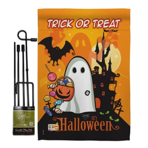 Breeze Decor BD-HO-GS-112051-IP-BO-D-US11-BD 13 x 18.5 in. Little Ghost Fall Halloween Vertical Double Sided Mini Garden Flag Set with Banner Pole
