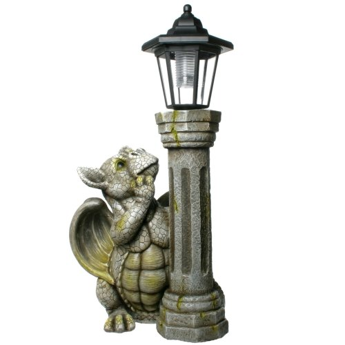 Garden Dragon with Solar Lamp Figure Gargoyle Ornament