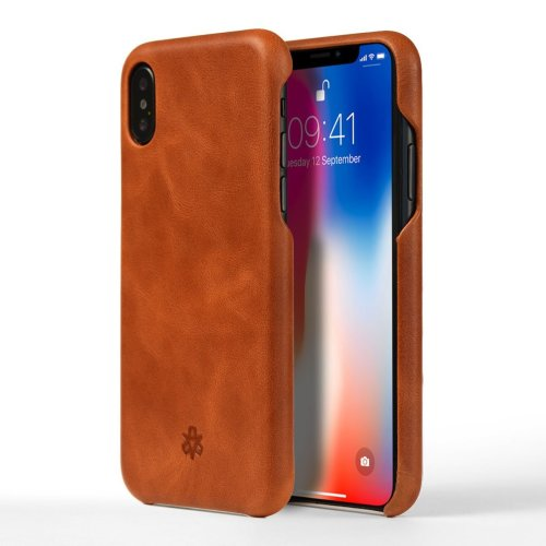 e64cfb4173 NOVADA Leather iPhone X Case Genuine Leather Back Cover - Tan on OnBuy