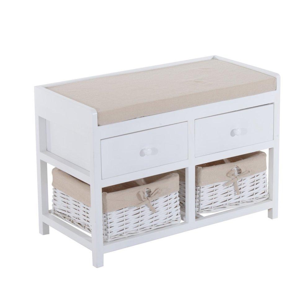 homcom white wooden storage bench 2 drawers 2 wicker baskets on onbuy. Black Bedroom Furniture Sets. Home Design Ideas