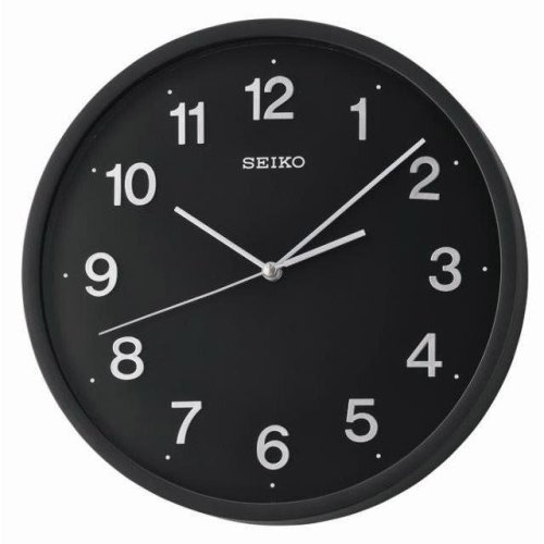 Seiko Sweep Second Wall Clock with 3D Numerals - Black (QXA660K)