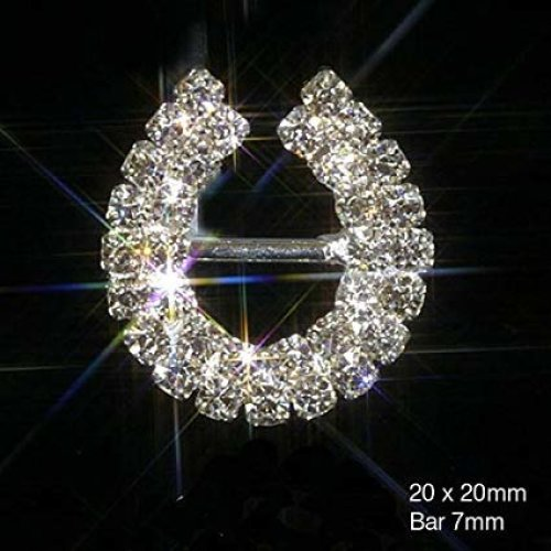10 x Lucky Horseshoe Ribbon Slider Buckles Diamante Embellishments Crystal Wedding Invitations Cards Crafts