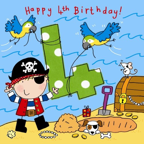 Twizler 4th Birthday Card For Boy With Pirate Dog Parrots And Glitter