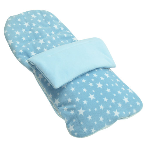 Fleece Footmuff Compatible With Mothercare Orb - Light Blue Star