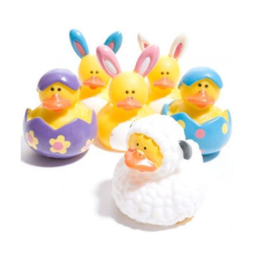 Easter Themed Rubber Ducks (Set of 6) - Bath or Pool Toys