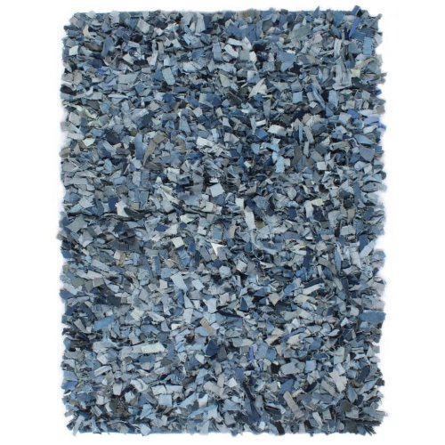 vidaXL Shaggy Rug Denim 160x230cm Blue Living Room Floor Protector Carpet Mat