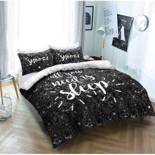 Sleep Slogan Snooze Duvet Quilt Cover Fine Bedding Set