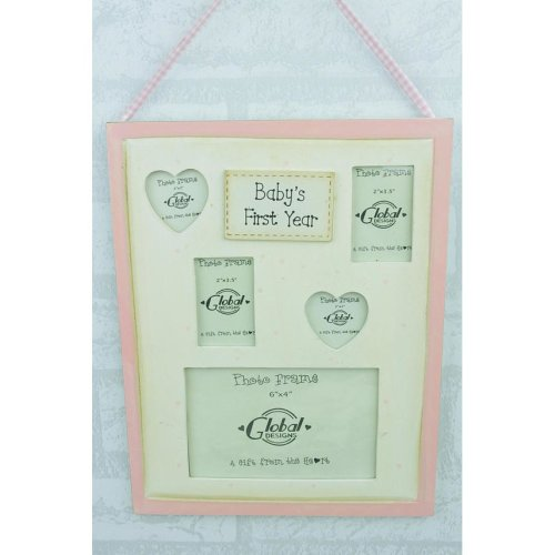 My First Year Collage Photo Frame Baby Pink Girl F0259B