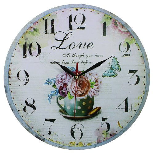 Obique Home Decoration 34cm MDF Wall Clock with Sweet Love Scene
