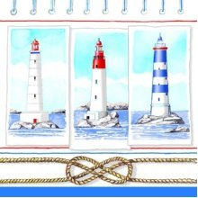 4 x Paper Napkins - Lighthouses - Ideal for Decoupage / Napkin Art