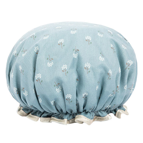 Womens Stylish Design Mold-resistant Shower Cap Double Layers Waterproof Bath Cap,P