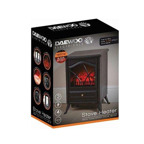 Daewoo 1850W Log Burning Flame Effect Stove Electric Fire Heater Fan Fireplace