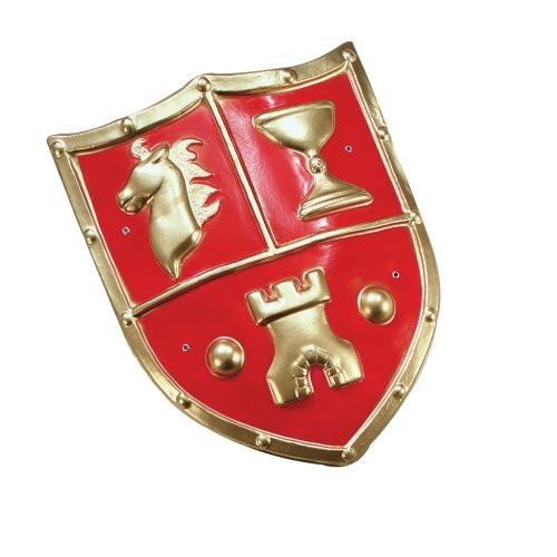 Red Medieval Soldier Shield - Fancy Dress Pvc Accessory Roman Crusader Type Pvc -  shield medieval fancy dress pvc accessory roman crusader type