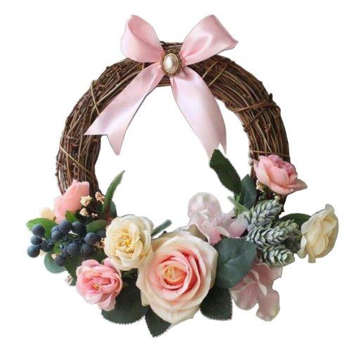 [Pink-1] Artificial Wreath Hanging Garland Door Wreath Wedding Decor