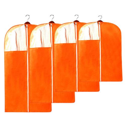 4 PCS Fashion Garment Bags Clothing Dustproof Bag Set Clothes Dust Cover Orange