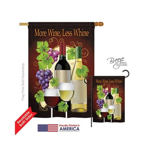 Breeze Decor 17022 More Wine, Less Whine 2-Sided Vertical Impression House Flag - 28 x 40 in.