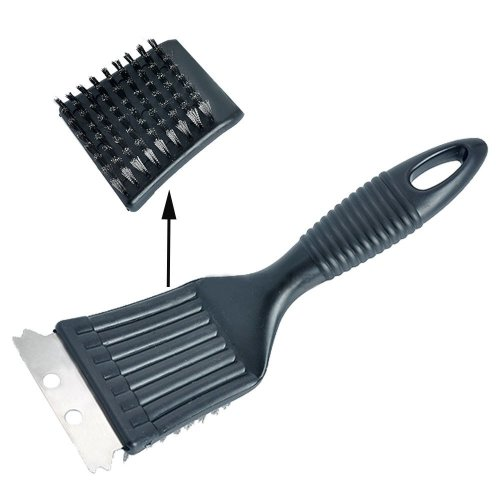 Cleaning BBQ Grill Brush Cleaning Scraper Stainless Steel Bristles - Black
