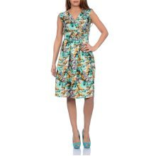Martildo Fashion, Ladies Knee Length Floral Print Crossover Dress, Green 2, Medium (UK 12-14)