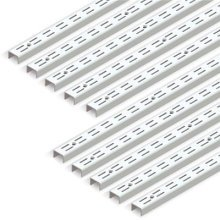 Emuca 7907912 Twin slot wall rail (grid dimension: 32mm) for shelf brackets, White, L 951mm, Set of 10 pieces