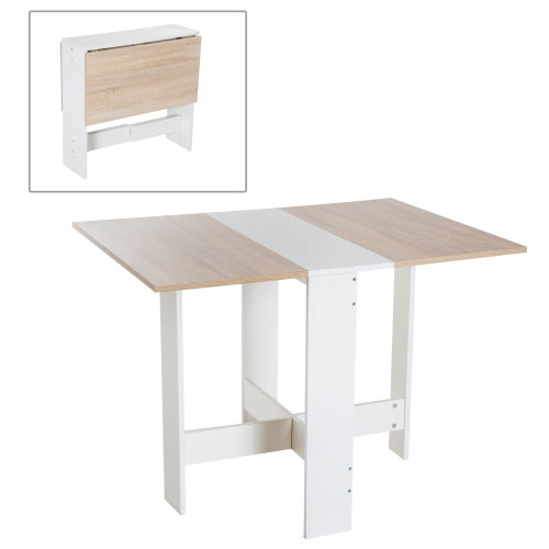 HOMCOM Particle Board Wooden Folding Table Writing Desk Workstation Space Saving Home Office Oak, White