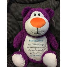 Purplr Bear - Personalised With Name, Message  or Birth Date