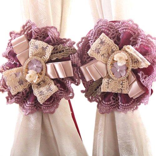 1Pair Rose Flower Window Curtain Tieback Buckle Clamp Hook Fastener Decor,Purple