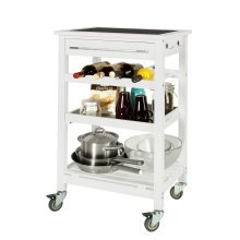 SoBuy® FKW16-G-W, Kitchen Storage Serving Trolley with Black Tempered Glass Worktop