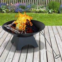 Outsunny Bowl φ 56 cm Firepit, Steel-Black