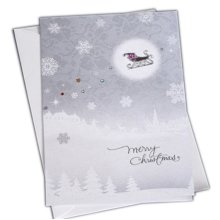 Christmas Cards Greeting Cards Christmas Gift Beauitful Xmas Cards (4 Cards and Envelopes), Silver#9