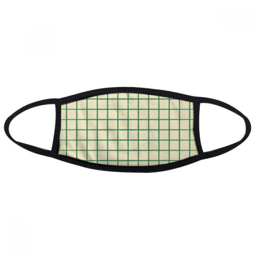 White Green Grid Decorative Pattern Mouth Face Anti-dust Mask Anti Cold Warm Washable Cotton Gift