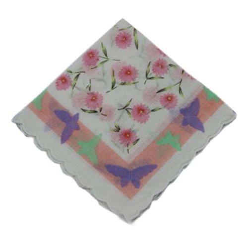 3 Pcs Retro Floral Print Handkerchiefs Ladies Cotton Pocket Handkerchief, #15