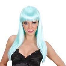 Beautiful - Turquoise Wig For Hair Accessory Fancy Dress -  turquoise wig fancy beautiful hair accessory dress ladies long straight blue fringe